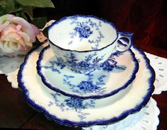 Antique Flow Blue Cup Saucer and Plate Trio