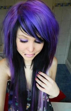 #purple and #black #dyed #hair