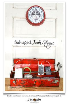 100+ Salvaged Junk Storage ideas - creative ways of hiding your bad junk in good junk! Features and a link party via http://www.funkyjunkint...