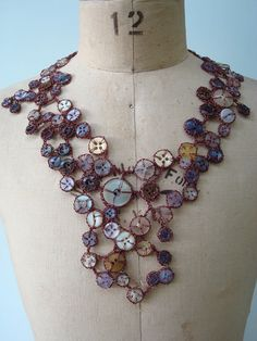 Crocheted Wire Button Necklace with Vintage Buttons