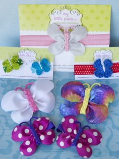Butterfly bows. Super cute! No tutorial. silver flower, butterfli bow, headband idea, irina flower, diycraft idea, hair accessori