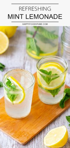 This homemade mint lemonade is refreshing, tasty and perfect for summer parties. This summer drink is made with fresh lemon juice and fresh mint and only takes minutes to make. #happyfoodstube #mint #lemonade #drink #healthy #detox #refreshing