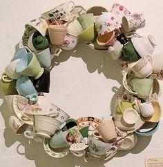 vintage tea cups wreath