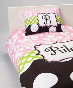 Take a look at this Dotted Damsel Personalized Duvet Set by Tickled Pink NOLA on #zulily today!