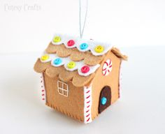 Cutesy Crafts: Felt Gingerbread House Ornament