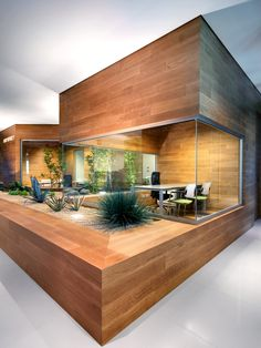 wood and glass meeting room