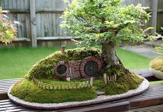 I must have this!!!!  A baggins bonsai, a miniature replica of Bilbo Baggins' house from The Lord of the Rings by J.R.R. Tolkien, built by mechanical engineer Chris Guise, who calls Bag End Bonsai Trayscape(flickr set).Cool