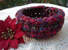 handmade Christmas basket, crochet with fabric yarn