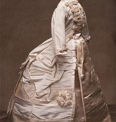 "Antique Silk Satin dress for french fashion doll poupee 16-17"" (41-43 cm)"