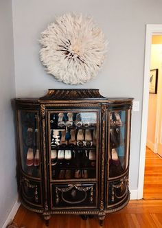Vintage furniture = a beautiful way to display shoes!