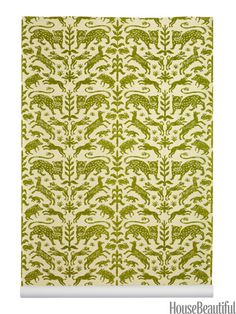 Escorial: Beasts of the forest cavorting in a design based on a 16th-century textile.