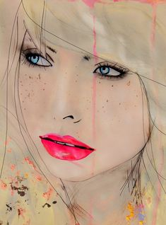 Leigh Viner print. pencil, art paintings, watercolor paintings, art prints, pink lips, beauty, leigh viner, portrait, fashion illustrations