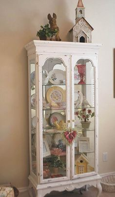 cottage style curio cabinet: by CozyHomeScenes on Flickr