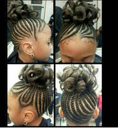 Cute black girls Cornrow updo with curls. Can't wait to try this on S when she gets a little older!