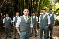 I love the idea of grey groomsmen suits, not too formal but still classy :)