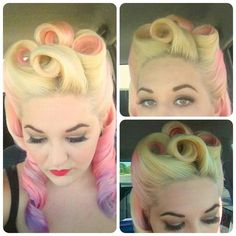 Amazing victory rolls victory rolls, purple hair, pastel, pinup hair, soft colors, pin curls, hairstyl, vintage style, victori roll