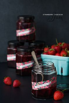 Strawberry Hibiscus Jam #recipe
