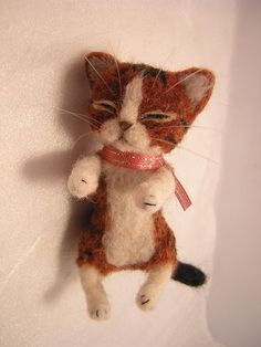 OOAK Needle Felted★sleepy Kitten★brown Tabby Cat★miniature Handmade by Kanzasi | eBay