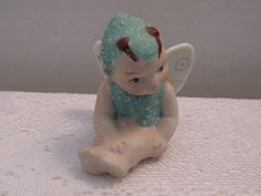 """Vintage Bisque Coralene Green Butterfly Fairy Pixie Snow Baby """"Japan""""P 16977 