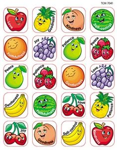 Fruit of the Spirit Stickers from Teacher Created Resources.