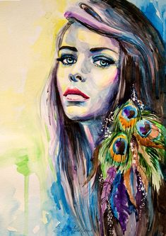 """Peacock Girl  watercolor  painting print 8"""" x 12"""" Forest green, Fuchsia pink, Fluorescent yellow, Fashion Illustration"""