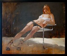 """Sexy or not?  Title: Urban Girl Oil on canves. 50""""x 60"""" (127cm x 152cm) Costa Dvorezky"""
