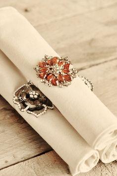 DIY Brooch Napkin Rings