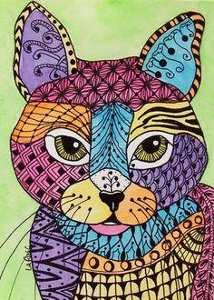 ACEO LE Print Cat Kitten Doodle Pet Portrait Feline Animal  Zentangle LaRusc