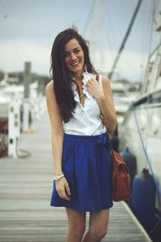 Royal Blue Skirt Top White Sleeveless Blouse & Brown Leather Hand Bag