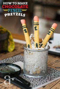 how to make chocolate pencil pretzels