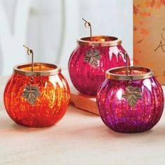 Festive Pumpkin Tealight Trio by PartyLite® Candles. Shop more holiday here : http://www.partylite.biz/legacy/sites/nikkihendrix/productcatalog?page=productdetail&sku=P91680&categoryId=55408&showCrumbs=true