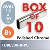 8ft Oval Closet Rod, Polished Chrome, Box of 10 $110.00
