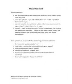 lesson on writing a thesis statement
