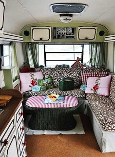 Vintage camper interior - cabinet paint! Awesome, How rad to travel across country with your best gal pal in this camper!