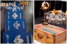 Travel theme birthday party - luggage cake, passport invitations, etc.