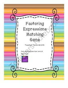 Factoring Expressions Matching Game from Teacher Twins on TeachersNotebook.com -  (5 pages)  - Included in this game are 9 factoring expressions or distributive property problems.