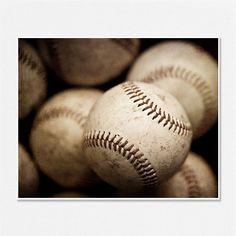 Baseball Photograph - Baseball Picture - Spring Sports Decor - Baseballs - Rustic brown - geekery - men, boys - child's room art. 8x10.. $30.00, via Etsy.