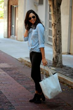 Britt + Whit pairs chambray with a Banana Republic perforated tote.