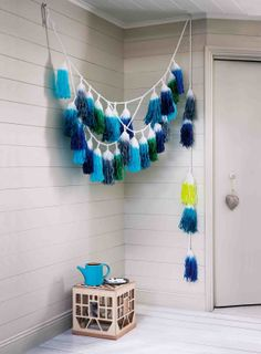 giant dip-dyed fringe garland in all shades of blue