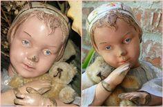 Ultra Rare Antique Carved Schoenhut Bonnet Character Girl Doll- All Original paint! Provenance!
