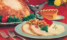 Turkey dinner with all the fixin's and pumpkin pie. #Thanksgiving #Christmas #1950s #vintage