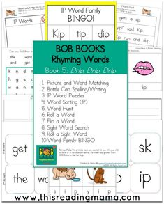 FREE Printables for BOB Books Rhyming Words Book 5 & Book 6 - This Reading Mama