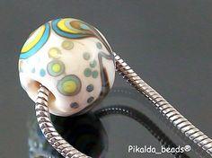 Pikalda :handmade lampwork 1 charm bead big hole-PEACOCK'S TAIL-SRA-make to order-. $20.00, via Etsy.