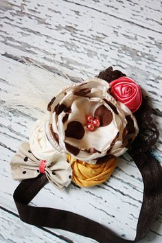 Sylivia- coral, brown, mustard and taupe headband M2M Persnickety by BabyBirdieBoutique
