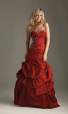 pretty, deep red, long formal dress with some glitz =)