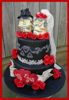 'Till Death ~ Gothic Skulls Wedding Cake - by MelSugarMama @ CakesDecor.com - cake decorating website