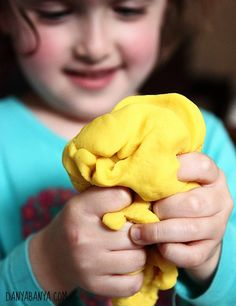 Squeezing play dough (by itself, or as a balloon ball) is great for developing hand strength. For extra sensory experience, this play dough is lemon scented, using real lemons!