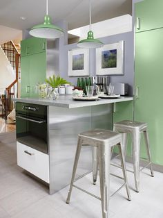 Green and Gray Kitchen - Sarah Richardson's Kitchen Design Recipes on HGTV