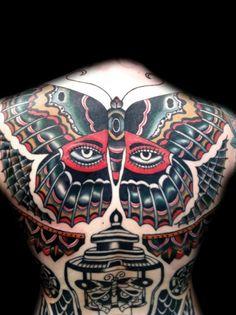 Large butterfly tattoo by Stuart G. Cripwell #InkedMagazine #butterfly #eyes #tattoo #tattoos #inked #ink