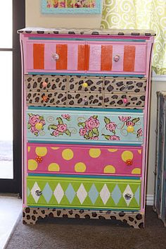 Cute whimsical chest of drawers! Great spring project for the girls & I.